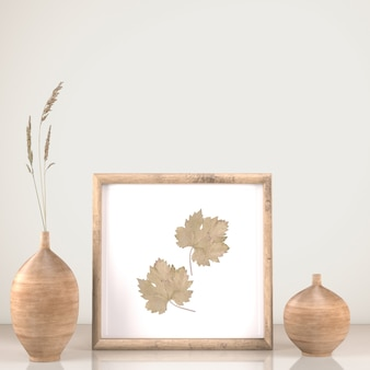 Vista frontal de la decoración del marco con jarrones y flores.