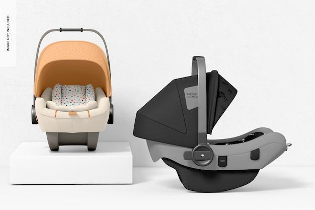 Vista frontal y derecha de maqueta de asientos de coche para bebés