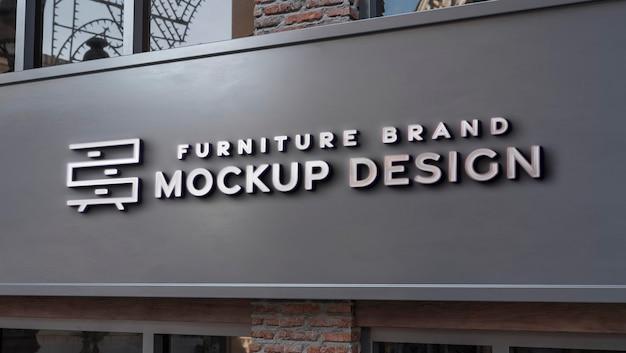 Vista frontal del diseño de letrero de maqueta de negocios