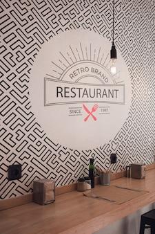Vista frontal fondo de pantalla de restaurante de marca retro