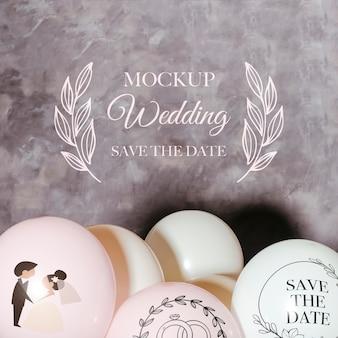 Vista frontal de globos de maqueta para boda