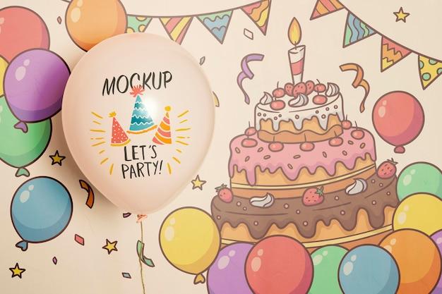 Vista frontal de globos de maqueta de fiesta