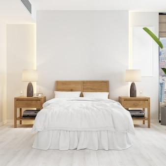 Vista frontal de la habitación con una cama y una moderna maqueta de mesas de noche de madera