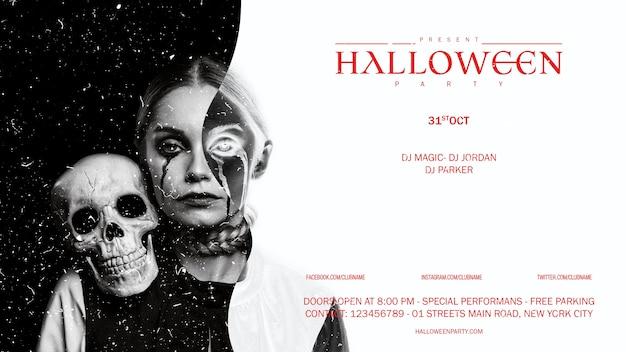 Vista frontal halloween maquillaje mujer con calavera mirando en cámara