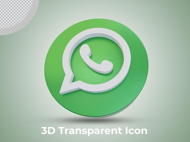 Vista frontal del icono renderizado 3d de whatsapp de alta calidad