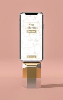 Vista frontal de la maqueta 3d del teléfono móvil