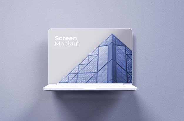 Vista frontal de la maqueta de arcilla blanca de macbook pro