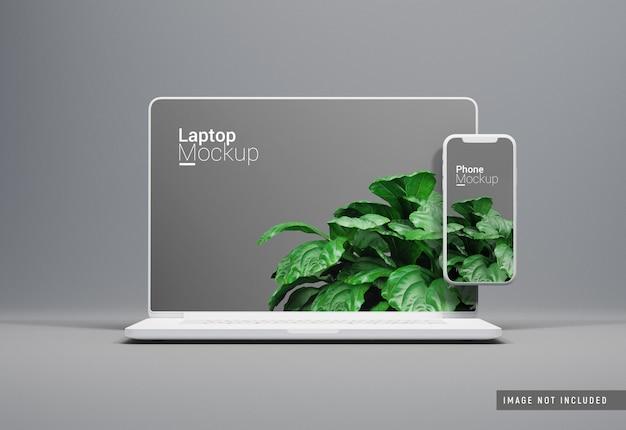 Vista frontal de la maqueta de arcilla de macbook pro