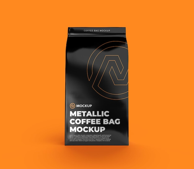 Vista frontal de maqueta de bolsa de café metálica