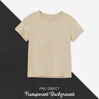 Vista frontal de la maqueta de camiseta básica beige para niños