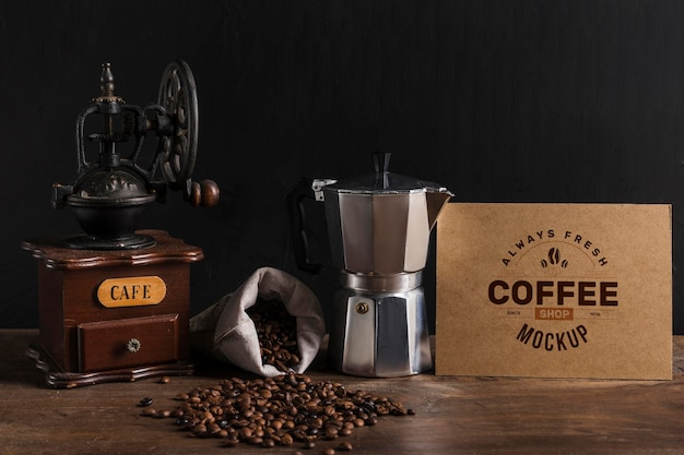 Vista frontal de la maqueta del concepto de café