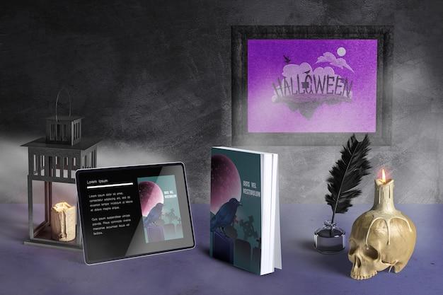 Vista frontal de la maqueta del concepto de halloween