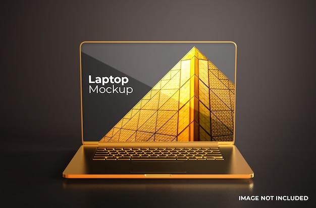 Vista frontal de la maqueta dorada de macbook pro