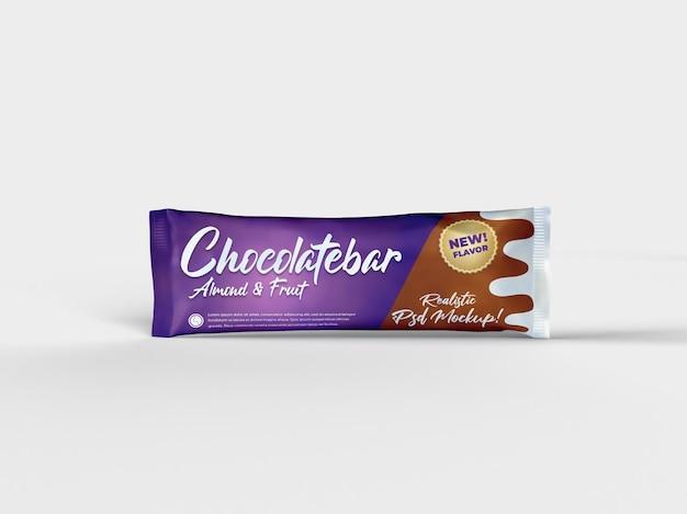 Vista frontal de la maqueta de empaquetado brillante de bocadillo de barra de chocolate realista