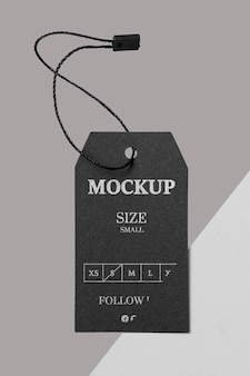 Vista frontal de maqueta de etiqueta de tamaño negro de ropa