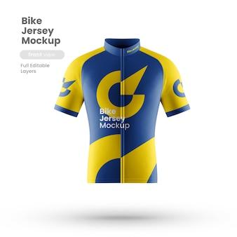 Vista frontal de la maqueta de jersey de bicicleta
