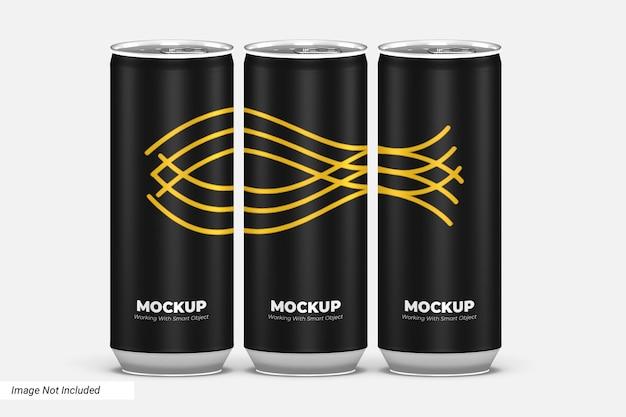 Vista frontal de la maqueta de lata de bebida