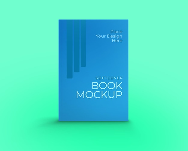 Vista frontal de maqueta de libro de tapa blanda aislado sobre fondo verde