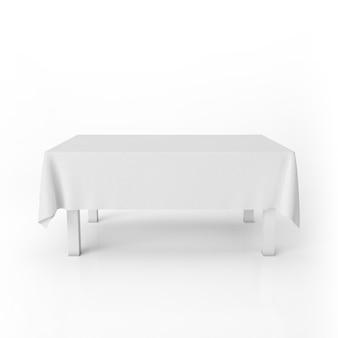 Vista frontal de la maqueta de la mesa de comedor con un paño blanco