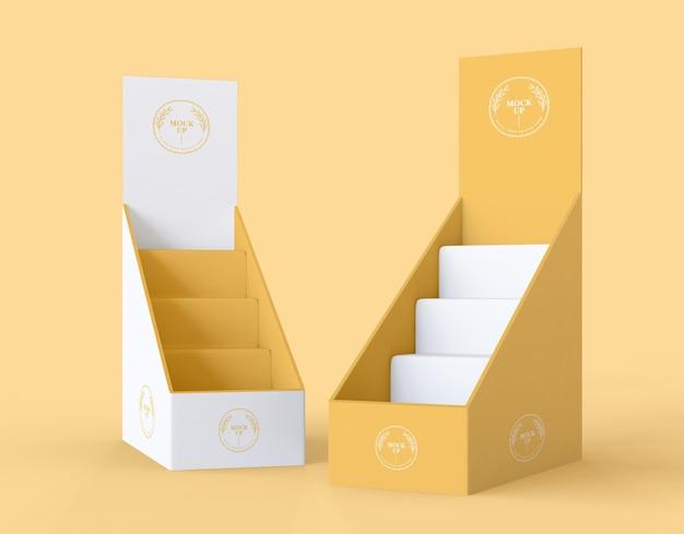 Vista frontal maqueta minimalista de expositores amarillos