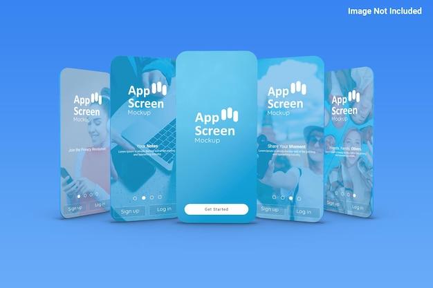 Vista frontal de la maqueta de la pantalla de la aplicación
