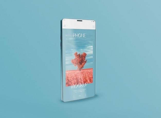 Vista frontal de la maqueta de la pantalla del teléfono inteligente 3d. imagen no incluida