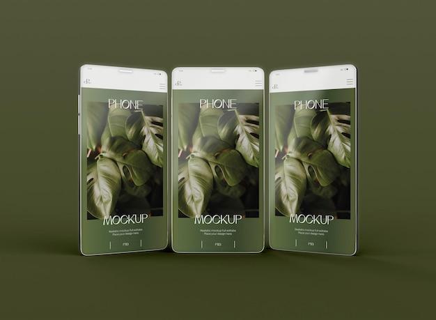 Vista frontal de la maqueta de la pantalla de teléfonos inteligentes 3d. imagen no incluida
