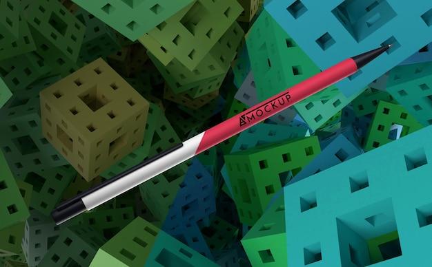 Vista frontal de la mercancía de bolígrafo de maqueta