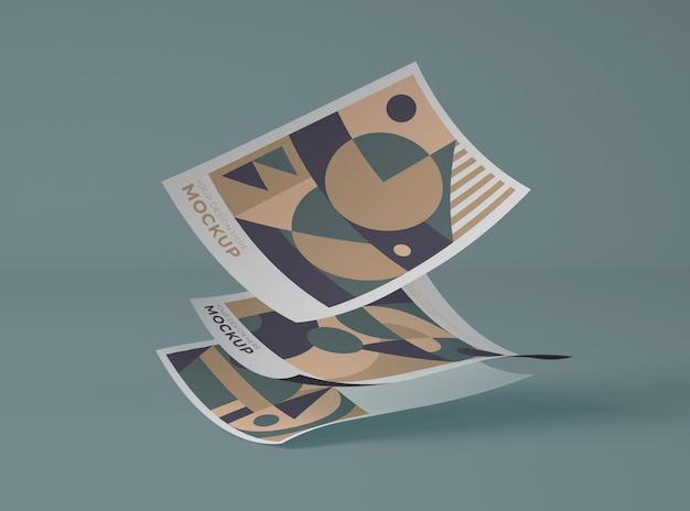 Vista frontal de papeles con formas geométricas.