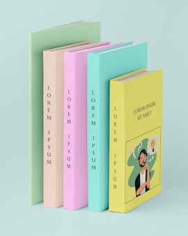 Vista frontal pila de maqueta de diferentes libros