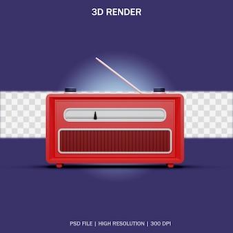 Vista frontal de la radio clásica roja con fondo transparente en diseño 3d