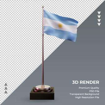 Vista frontal de la representación 3d de la bandera argentina