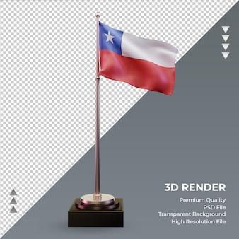 Vista frontal de la representación 3d de la bandera de chile