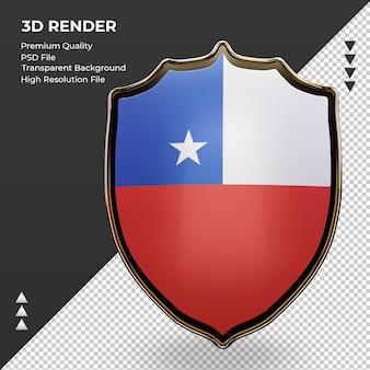 Vista frontal de la representación de la bandera de chile escudo 3d