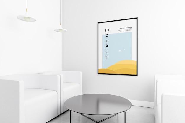 Vista frontal de la sala de estar con marco de maqueta