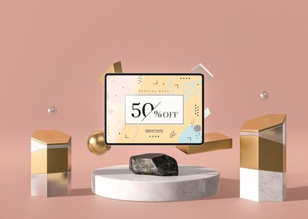 Vista frontal de tableta digital maqueta 3d con mármol