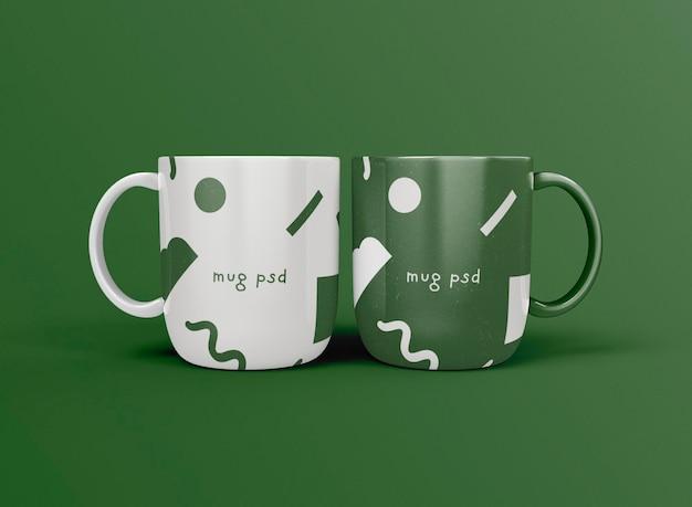 Vista frontal de las tazas de café 3d