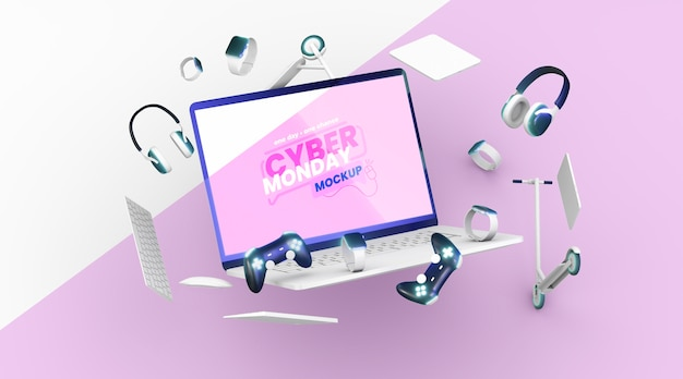Vista frontale cyber lunedì vendita assortimento mock-up
