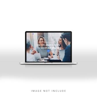 Vista frontale del mockup del display del laptop