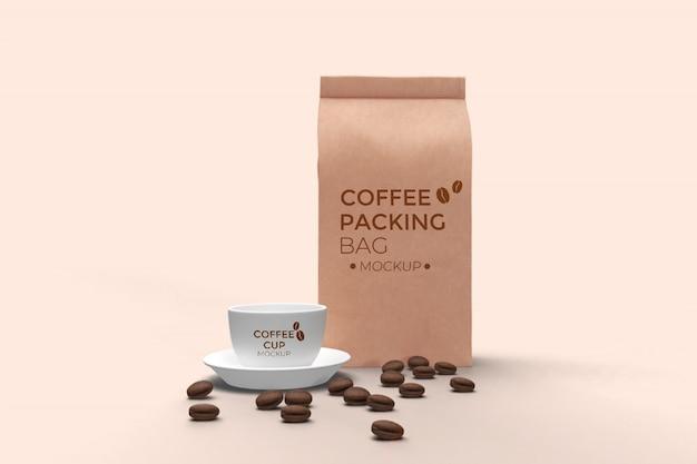 Vista frontale del sacchetto di caffè e tazza di caffè mockup psd