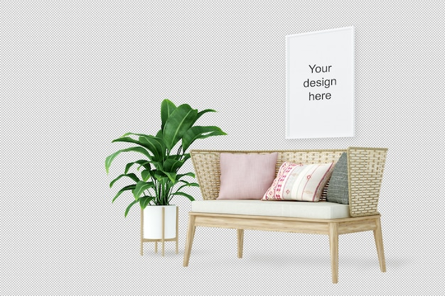 Vista frontale del telaio mockup con divano e pianta