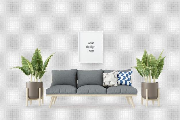 Vista frontale del telaio mockup con divano e piante