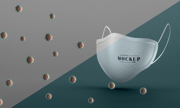 Vista frontale della maschera viso mock-up per la protezione da virus