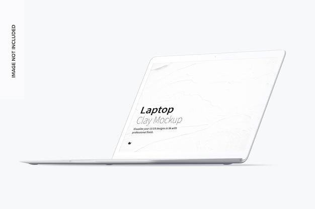 Vista frontale destra del mockup del laptop di argilla