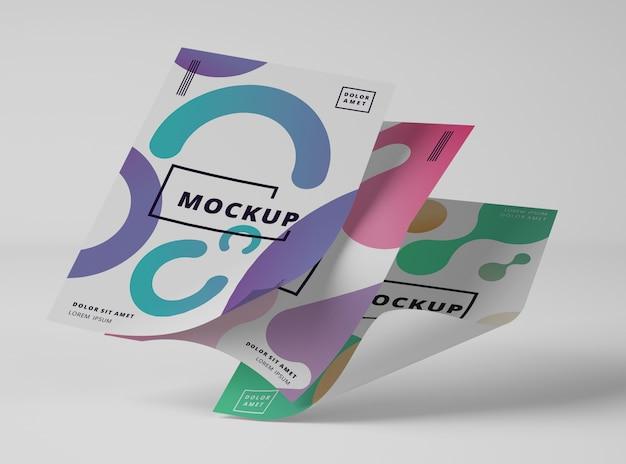 Vista frontale di documenti mock-up