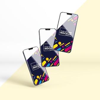 Vista frontale nuova collezione di telefoni
