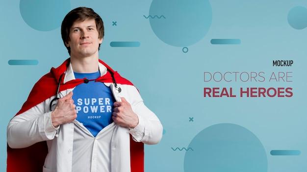 Vista frontale uomo con stetoscopio
