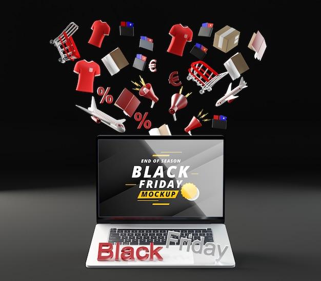 Vista frontale venerdì nero mock-up vendita sfondo nero