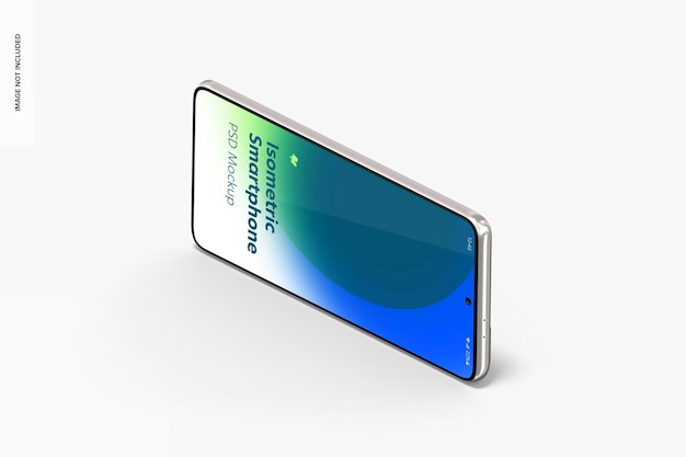 Vista isométrica de la maqueta de teléfono inteligente
