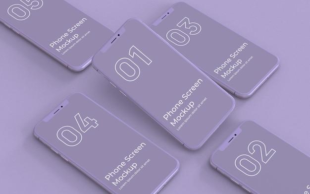 Vista izquierda de la maqueta de teléfono inteligente púrpura